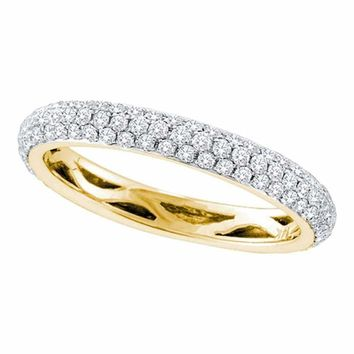 14kt Yellow Gold Women's Round Pave-set Diamond Wedding Band 3-4 Cttw - FREE Shipping (US/CAN)