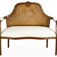 "Seren 48"" Cane-Back Settee, Ivory"