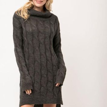 Open To Love Sweater Dress - Charcoal