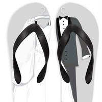 Wedding Couple with Gray Background Flip Flops