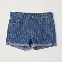 Denim Shorts - Denim blue/narrow-striped - Ladies | H&M US
