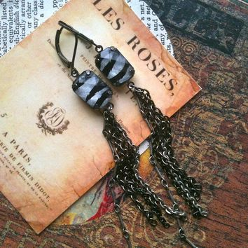 Zebra Stripe Fringe Earrings Long Chains by ReneeLoughlinDesigns