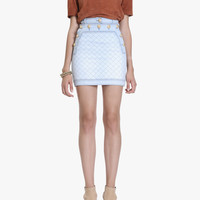 Distressed denim quilted mini skirt | Women's skirts | Balmain