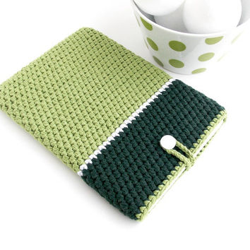 Zen GREEN ereader sleeve, Nook Glowlight plus cover, Kindle Oasis case, crochet Kindle Paperwhite cozy, Kobo Glo HD pouch, Kobo Touch cover