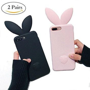 """VERYLULU Couple iPhone 7 Plus Case Set of 2PCS 3D Cute Cartoon Bunny Pink Rabbit Ears Tail Back Girls Soft Silicone Phone Coque Cover Case For Apple iPhone 7 Plus and iPhone 8 Plus (5.5"""")"""