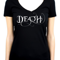 Death Being the End Women's V Neck Shirt Top Occult Gothic Clothing Sandman