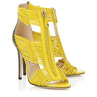 Yellow Nappa and Printed Leather Caged Sandals | Kattie | Spring Summer 15 | JIMMY CHOO Shoes