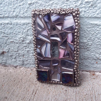 Mosaic switch plate, Stained glass switch plate, Lighting, 1 Toggle wall plate, Home decor