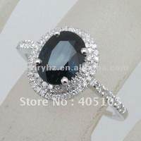 hot sales 14k white gold sapphire  &  diamond ring for lady and gentle