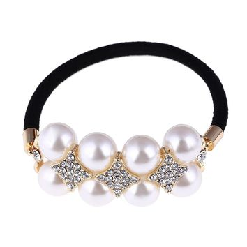 12Pcs  Fashion Style Semi-circle imitation Pearl Beads Hair Rope Girls Hair Accessories Scrunchie Ponytail Elastic Hair Band