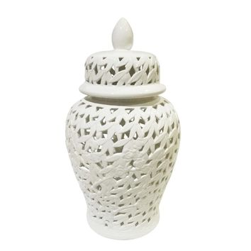 Elegantly Styled Pierced Ceramic Temple Jar, White By Sagebrook Home