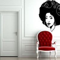Room Wall Decor Vinyl Sticker Room Decal Art Beautiful Afro Girl Haircut Hoops Circles Salon Model  895