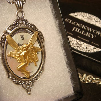 Victoran Style Fairy over Watch Face Steampunk Pendant Necklace  - Upcycled Jewelry  (1841)
