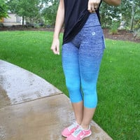 Sweat It Out Capri Leggings - Blue