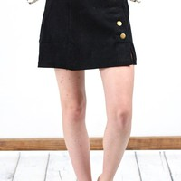 Side Button Down Corduroy Skirt {Black}