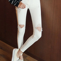 White Cut Out Jeans