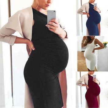 Maternity Clothes Fashion Women Pregnants Sleeveless Maternity Solid Vest Dress Pregnancy Dress Casual Dress JE04#F
