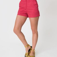 Vintage Style Red & White Polka Dot High Waisted Cotton Shorts