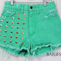 Vintage Mint Green Guess Studded Shorts