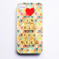 iPhone 4S Case: Love is All You Need. Geometric Triangles. White Case. iPhone 4s Case. Tribal Neon. Colorful Print (IN STOCK)