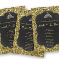 Princess Gold Glitter Sweet 16 Invitation - Black Chalk Gold Tiara Sweet 16 Birthday Invite - Bling 16 - Elegant - Sweet 15 - Quinceanera