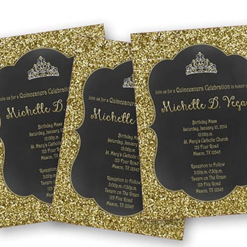 Princess Gold Glitter Sweet 16 Invitation From