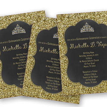 Princess Gold Glitter Sweet 16 Invitation from PartyPrintExpress