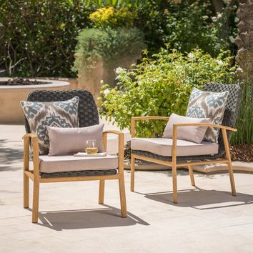 St. Pete Outdoor Club Chairs with Wood Finished Legs and Water Resistant Cushions