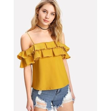 Layered Pleated Ruffle Cold Shoulder Top