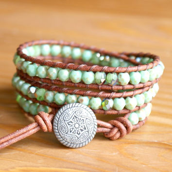 Green Turquoise bohemian beaded leather bracelet, triple wrap, Mandala, lime, shabby chic, boho trendy jewelry, SALE hipster by OlenaDesigns