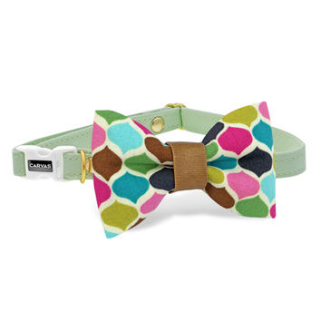 Morroccan Mint Cat Bow Tie Collar - Mint Green - Breakaway Safety Buckle - Sizes for Cat, Kitten, Dog