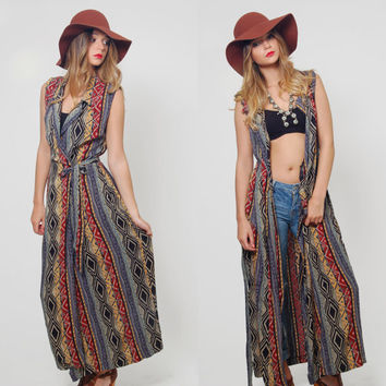 Vintage 90s SOUTHWESTERN Duster TRIBAL Maxi Dress Boho Long Top Rayon Jacket Layering Piece ETHNIC Wrap Dress