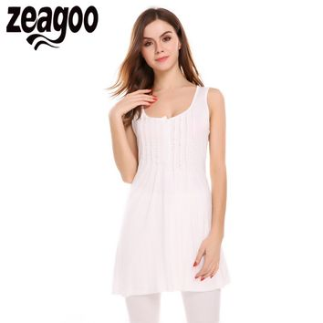 Zeagoo Women O-Neck Sexy Summer Sleeveless Draped Long Tank Tops Solid Slim Casual Basic Tops Women Front Button Female Vest