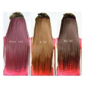 Fashionable Kanekalon Long Straight Synthetic Full Head Clip in Hair Extensions ch011-2/30