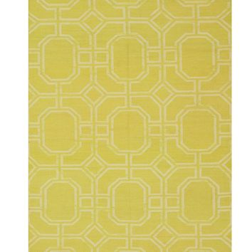 EORC Handmade Wool Gold Transitional Geometric Reversible Modern Moroccan Kilim Rug