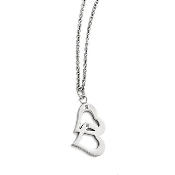 Synthetic Cz Interlocking Heart Pendant Necklace in Stainless Steel - Lobster