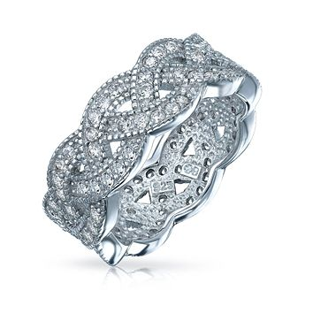 CZ Braided Rope Infinity Eternity Wedding Band Ring Sterling Silver