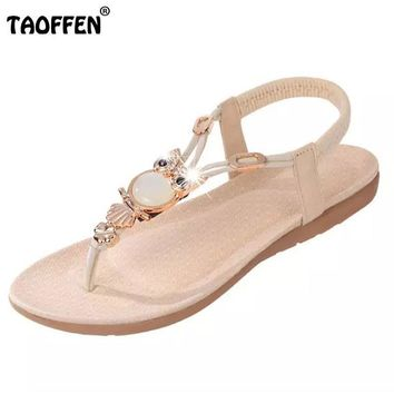 bohemian beaded women flat sandals clip toe brand quality sexy sandals fashion ladies