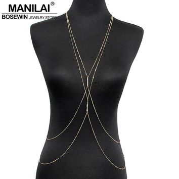 MANILAI Fashion PC Gold Color Chain Body Jewelry Women Simple Necklace Double Rhinestones Inlay Body Chains Sexy Accessories