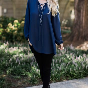 Thrill of The Lace Up Navy Tunic Top