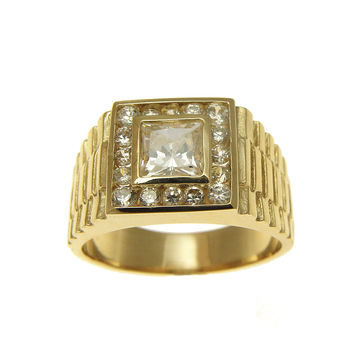HEAVY SOLID 14K YELLOW GOLD CUBIC ZIRCONIA CZ ROLEX RING 12MM
