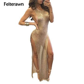 Feiterawn 2017 Women Summer Sexy Beach Cover Up Split Dress Grey Gold Sleeveless Hollow Out Knitted Bikini Cover Ups Dy1586