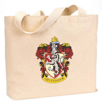 "Gryffindor Symbol Crest Canvas Jumbo Tote Bag 18""w x 11""h"