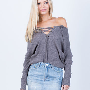 Knit Lace-Up Top