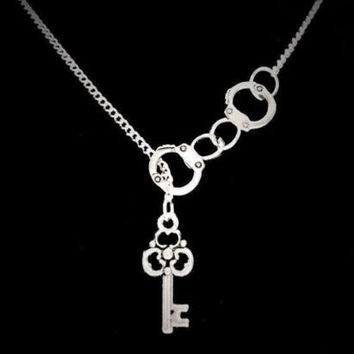 Handcuff Lock And Key To My Heart Police Officer Wife Valentine Lariat Necklace