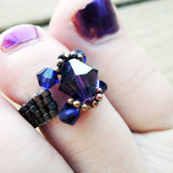 Stunning Swarovski Crystal Dark Amethyst & Deep Velvet Purple Bicone Beaded Elastic Toe Ring w/ Antiqued Copper Daisy Spacers - Royalty Ring
