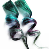 Human Hair Extension, Spring extension hair, hair extension, green, blue, purple, clip in hair, Tie Dye Colored Hair - Cosmic Space