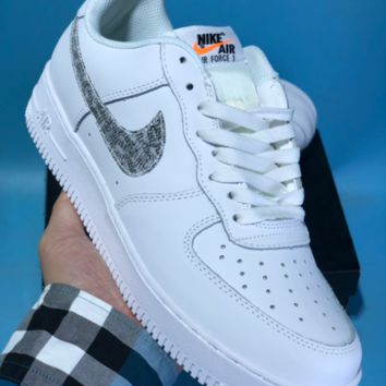 KUYOU N589 Nike Air Force 1 AF1 Low Retro Just do it Breathable Skate Shoes White Grey