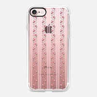 Vintage Floral Thin Stripe - Pink (transparent) iPhone 7 Case by Lisa Argyropoulos | Casetify