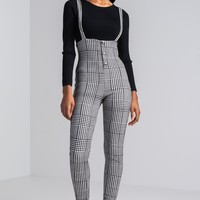 AKIRA Low Cut Straight Leg Suspender Houndstooth Overalls in Black White